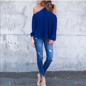 Off the Shoulders Blue Blouse XL